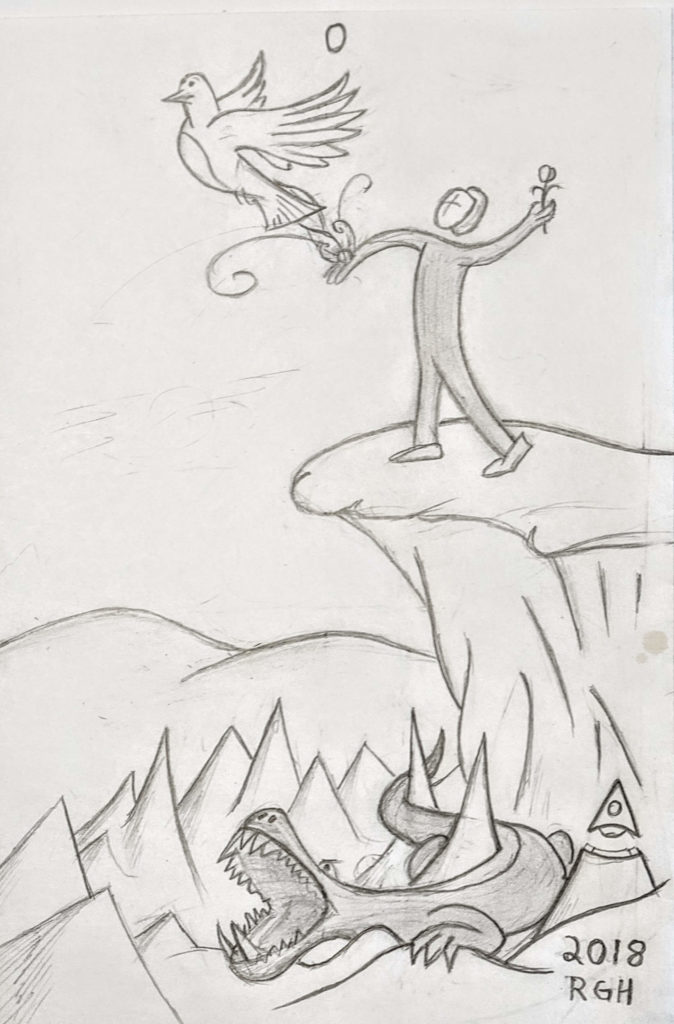 Fool Archetype Drawing - The Hero's Spiritual Journey Begins with Flight