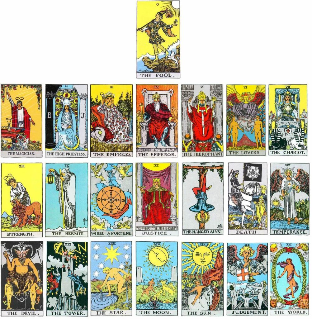 Major arcana tarot cards rider waite
