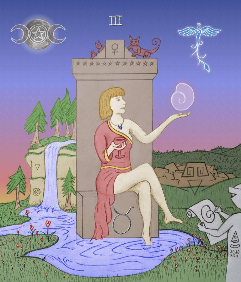 Empress Beholder Sphere Tarot Art colored