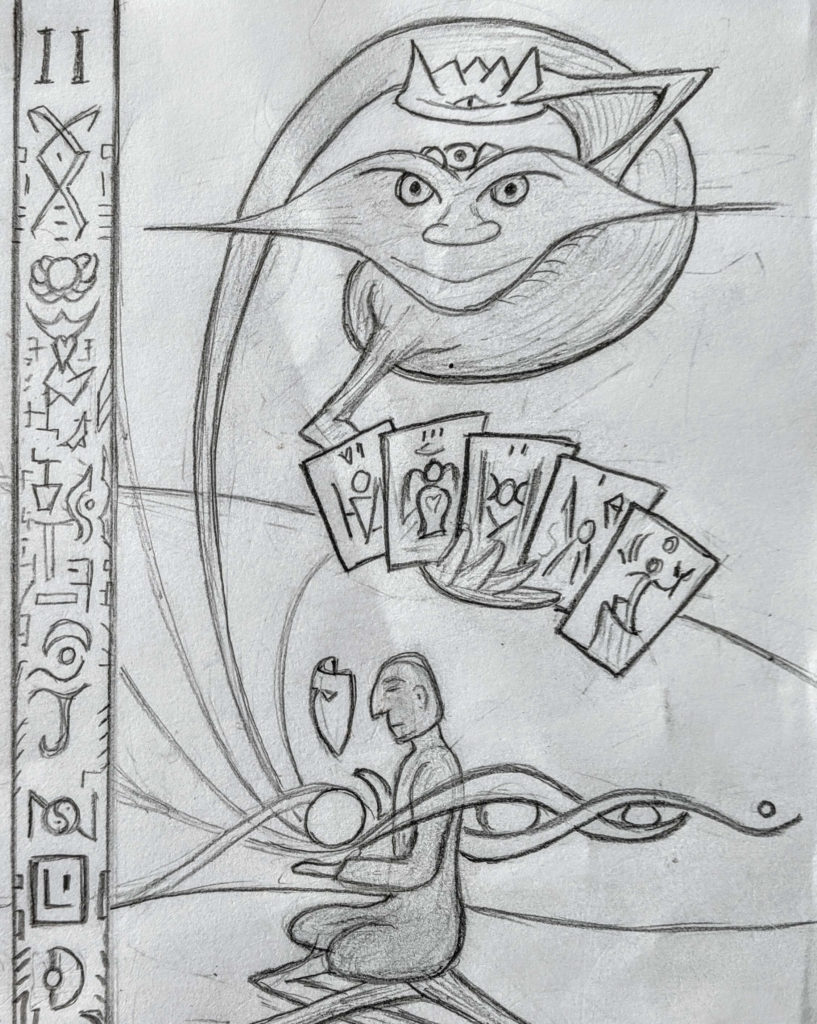 Divso in High Priestess Drawing with Tarot Cards