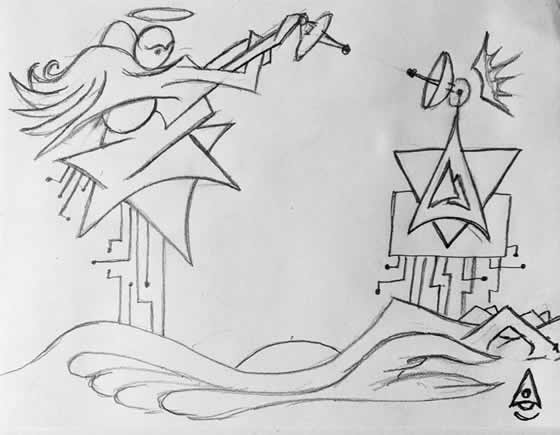 Signal Sent Drawing by BeholderSphere 560