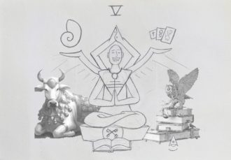 Bull and Owl Reference Image for Hierophant Drawing